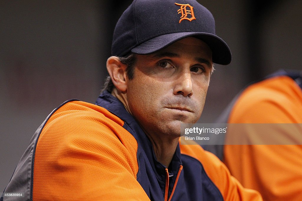 Manager <a gi-track='captionPersonalityLinkClicked' href=/galleries/search?phrase=Brad+Ausmus&family=editorial&specificpeople=209430 ng-click='$event.stopPropagation()'>Brad Ausmus</a> #7 of the Detroit Tigers looks on from the dugout during the first inning of a game against the Tampa Bay Rays on August 19, 2014 at Tropicana Field in St. Petersburg, Florida.