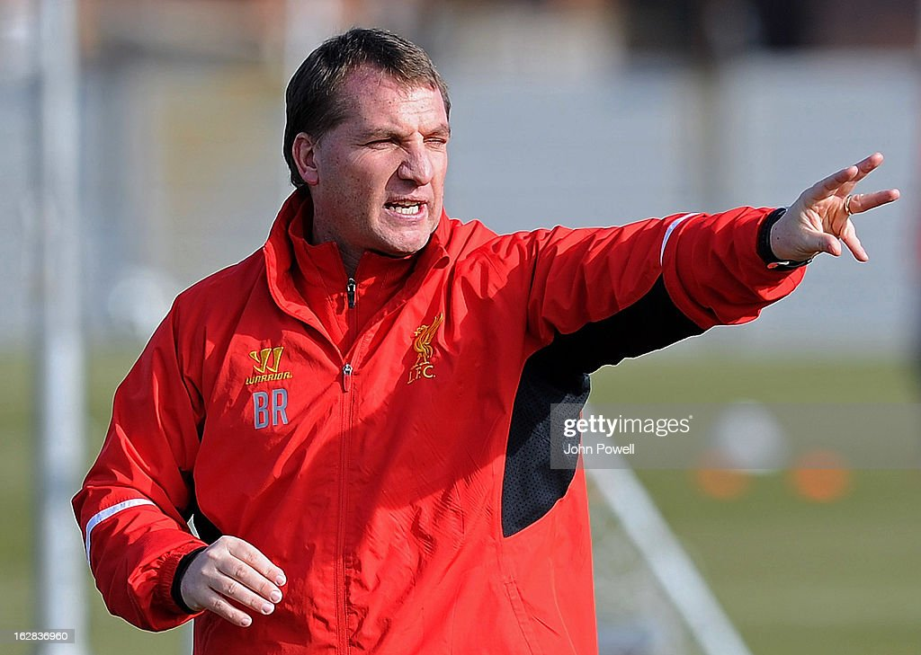 Manager Brendan Rodgers of Liverpool FC during a training session at Melwood Training Ground on February 28, 2013 in Liverpool, England.