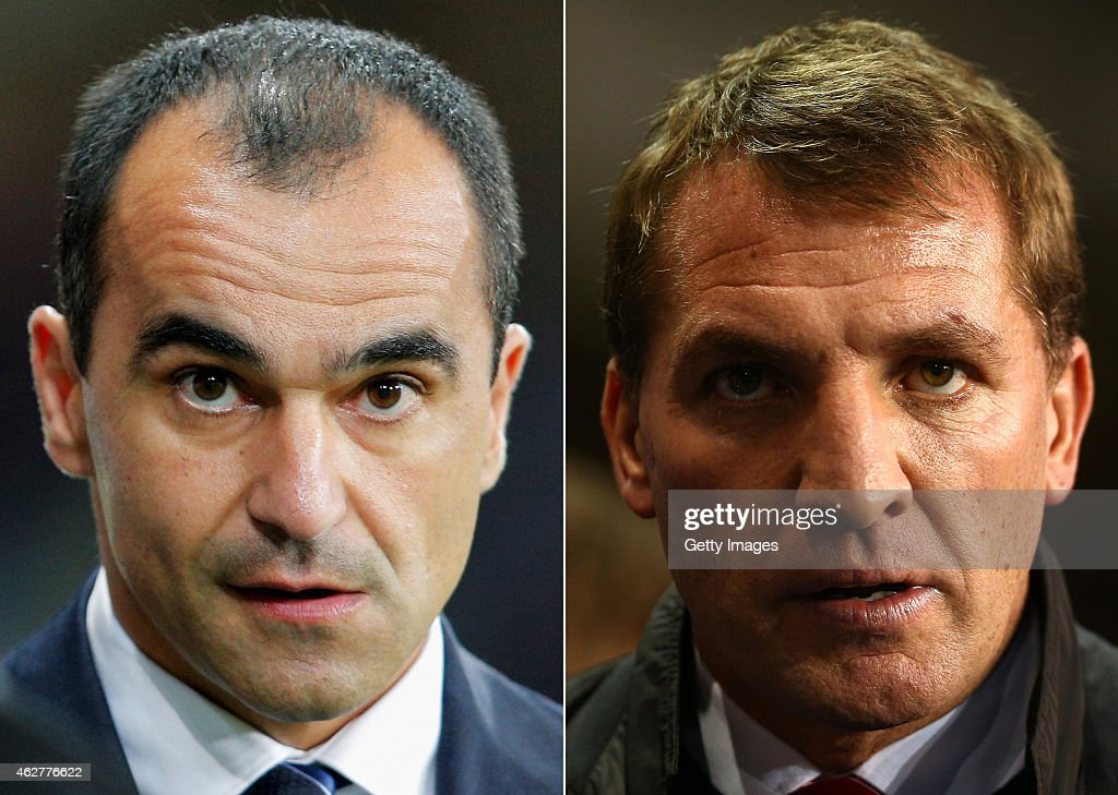 IMAGES - Image numbers (L) 457719872 and 456837437) In this composite image a comparision has been made between Roberto Martinez, manager of Everton FC (L) and Brendan Rodgers,manager of Liverpool. Everton and Liverpool meet in a Premier League match on February 7, 2015 at Goodison Park in Liverpool,England. LONDON, ENGLAND - DECEMBER 15: Manager Brendan Rodgers of liverpool looks on during the Barclays Premier League match between Tottenham Hotspur and Liverpool at White Hart Lane on December 15, 2013 in London, England.