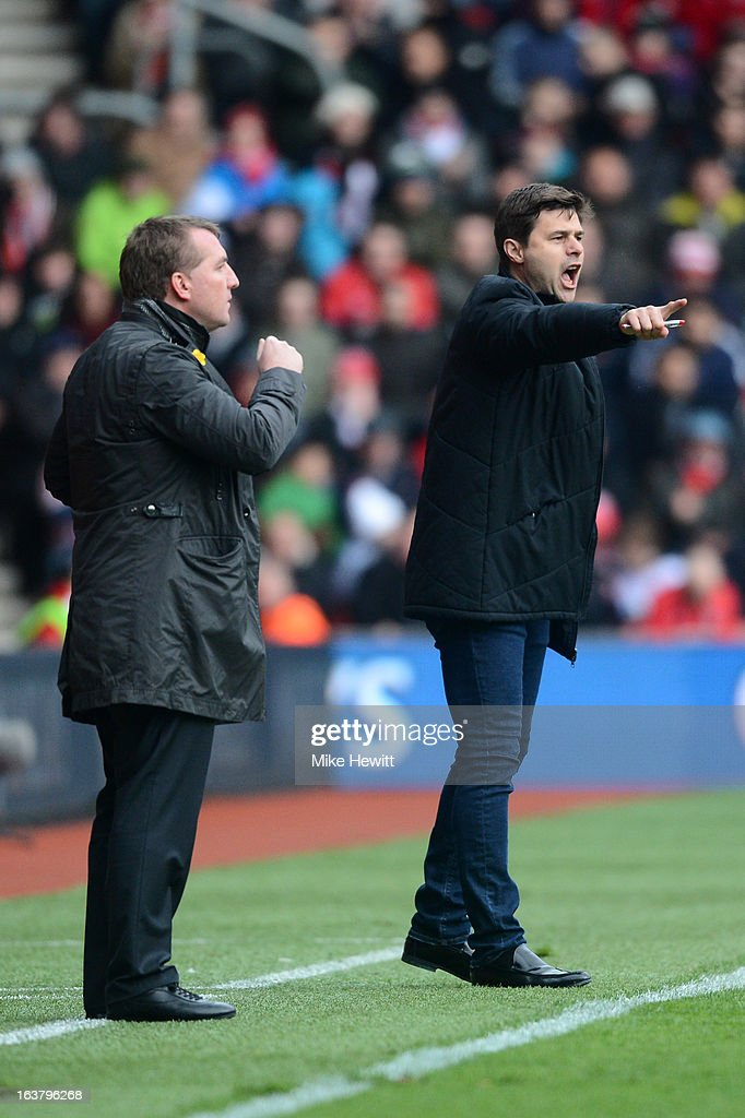 Manager Brendan Rogers of Liverpool and Southampton manager Mauricio Pochettino give instructions from the touchline during the Barclays Premier League match between Southampton and Liverpool at St Mary's Stadium on March 16, 2013 in Southampton, England.