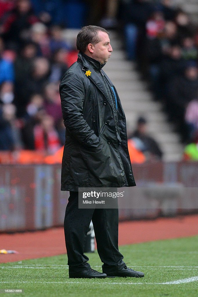 Manager Brendan Rogers of Liverpool looks on during the Barclays Premier League match between Southampton and Liverpool at St Mary's Stadium on March 16, 2013 in Southampton, England.