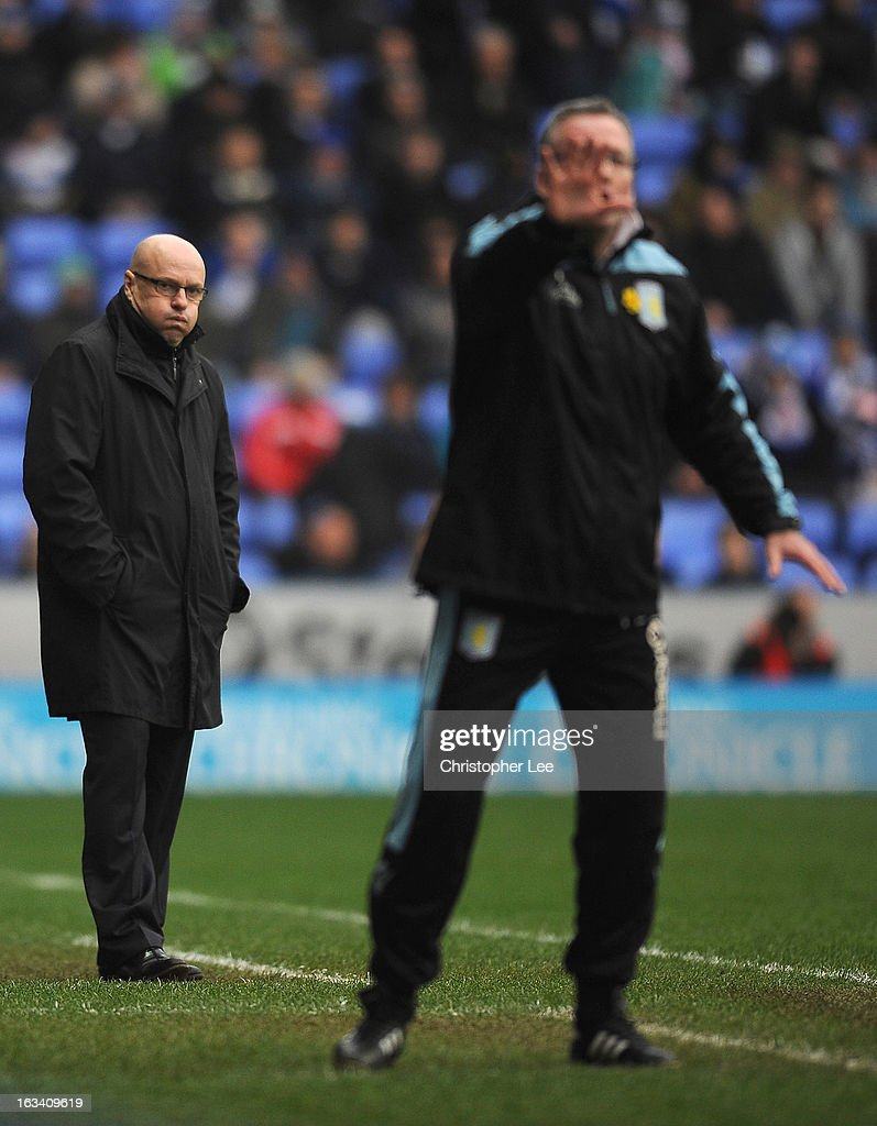 Manager Brian McDermott of Reading blows out his cheeks during the Barclays Premier League match between Reading and Aston Villa at Madejski Stadium on March 9, 2013 in Reading, England.