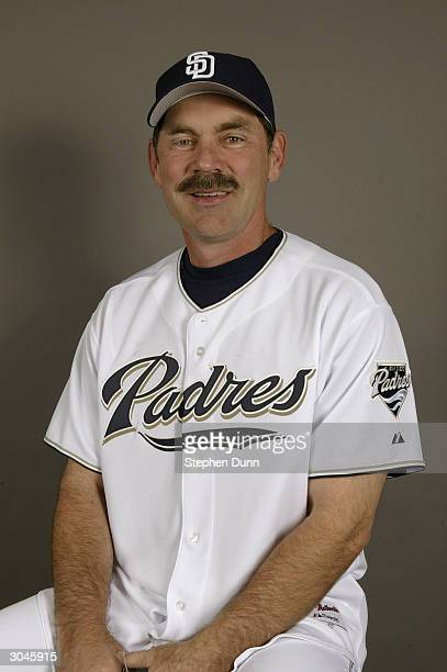 Manager Bruce Bochy of the San Diego Padres poses for a picture during media day at Peoria Sports Complex on February 28 2004 in Peoria Arizona