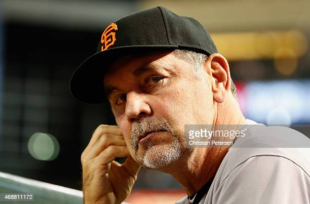 Manager Bruce Bochy of the San Francisco Giants during the Opening Day MLB game against the Arizona Diamondbacks at Chase Field on April 6 2015 in...