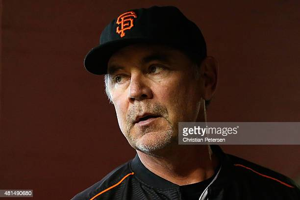Manager Bruce Bochy of the San Francisco Giants in the dugout during the MLB game against the Arizona Diamondbacks at Chase Field on July 19 2015 in...