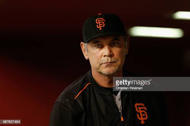 Manager Bruce Bochy of the San Francisco Giants in the dugout during the MLB game against the Arizona Diamondbacks at Chase Field on September 9 2015...