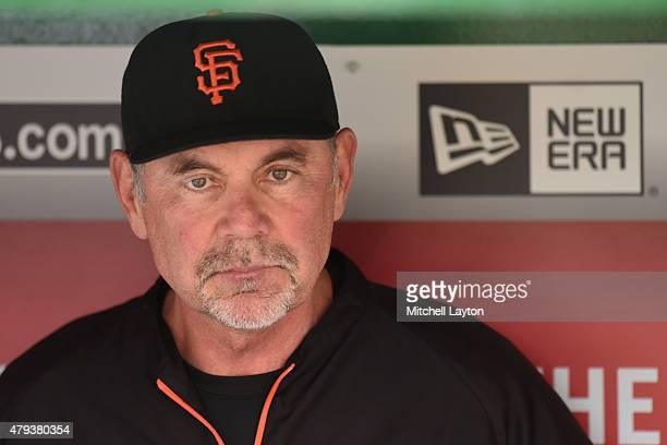 Manager Bruce Bochy of the San Francisco Giants looks on before a baseball game between the Washington Nationals and the San Francisco Giants at...