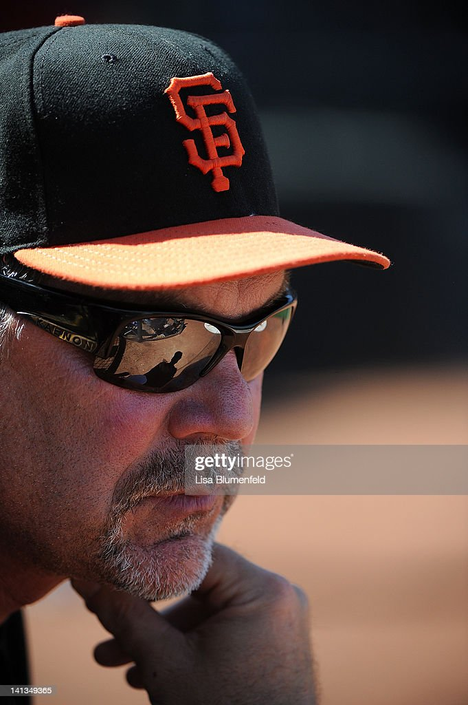 Manager <a gi-track='captionPersonalityLinkClicked' href=/galleries/search?phrase=Bruce+Bochy&family=editorial&specificpeople=220291 ng-click='$event.stopPropagation()'>Bruce Bochy</a> of the San Francisco Giants looks on during the preseason game against the Kansas City Royals on March 12, 2012 in Surprise, Arizona.