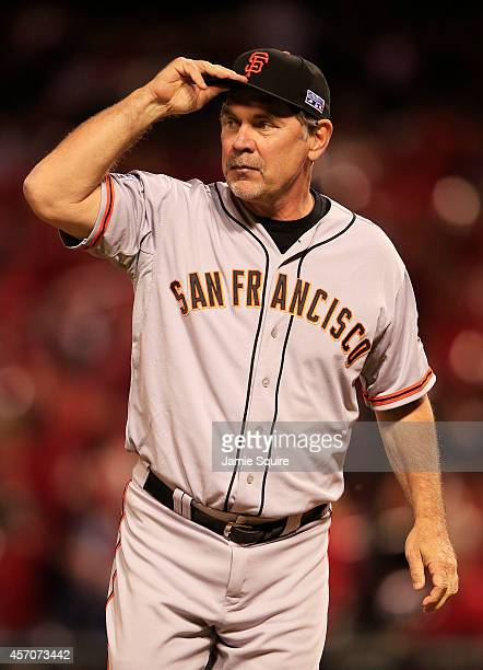 Manager Bruce Bochy of the San Francisco Giants looks on prior to Game One of the National League Championship Series against the St Louis Cardinals...