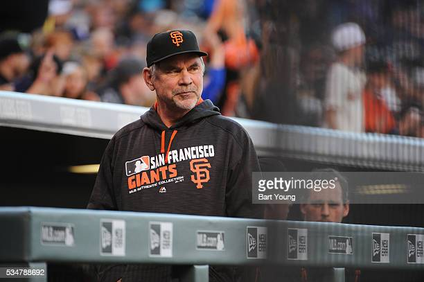 Manager Bruce Bochy of the San Francisco Giants looks on prior to the game against the Colorado Rockies at Coors Field on May 27 2016 in Denver...