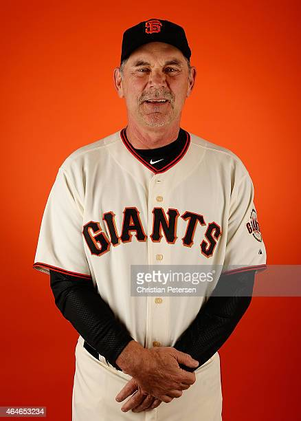 Manager Bruce Bochy of the San Francisco Giants poses for a portrait during spring training photo day at Scottsdale Stadium on February 27 2015 in...