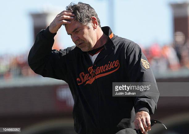 Manager Bruce Bochy of the San Francisco Giants reacts after he was ejected from the game during the sixth inning against the San Diego Padres at ATT...