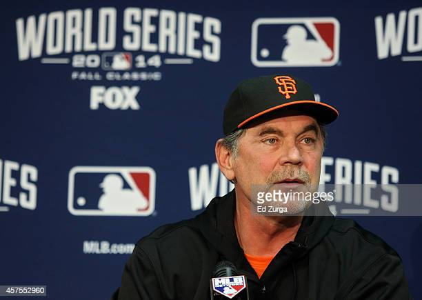 Manager Bruce Bochy of the San Francisco Giants speaks to the media during the 2014 World Series Media Day at Kauffman Stadium on October 20 2014 in...