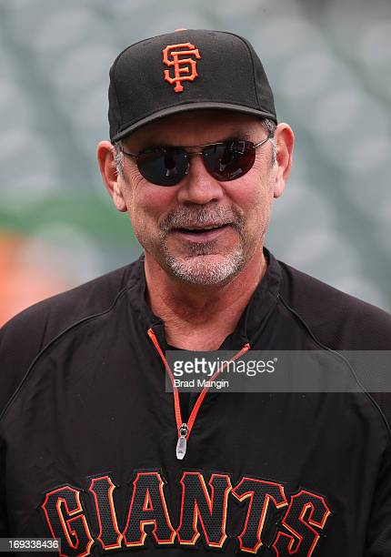 Manager Bruce Bochy of the San Francisco Giants watches batting practice before the game against the Los Angeles Dodgers on Sunday May 5 2013 at ATT...