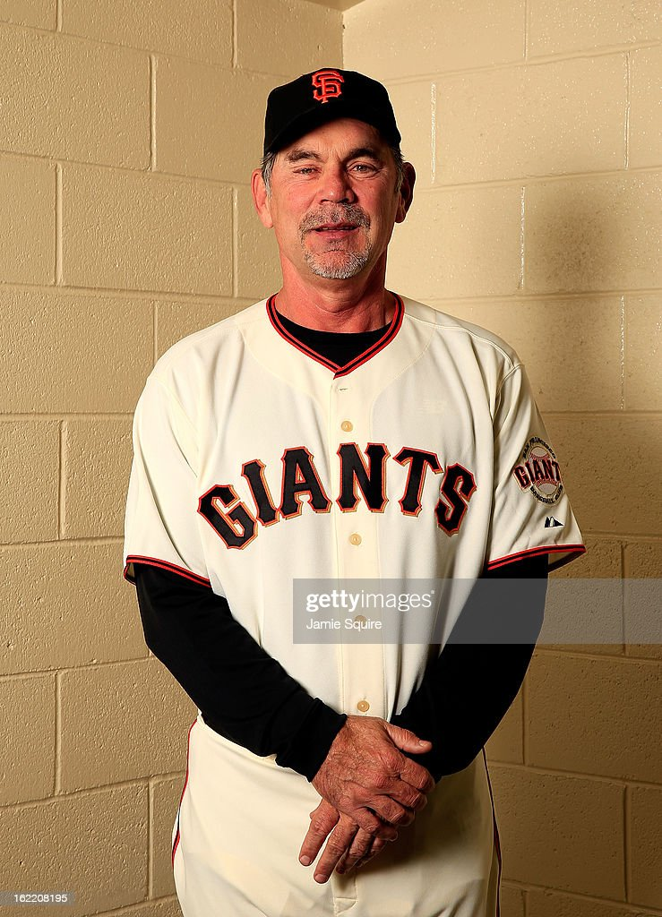 Manager <a gi-track='captionPersonalityLinkClicked' href=/galleries/search?phrase=Bruce+Bochy&family=editorial&specificpeople=220291 ng-click='$event.stopPropagation()'>Bruce Bochy</a> #15 poses for a portrait during San Francisco Giants Photo Day on February 20, 2013 in Scottsdale, Arizona.