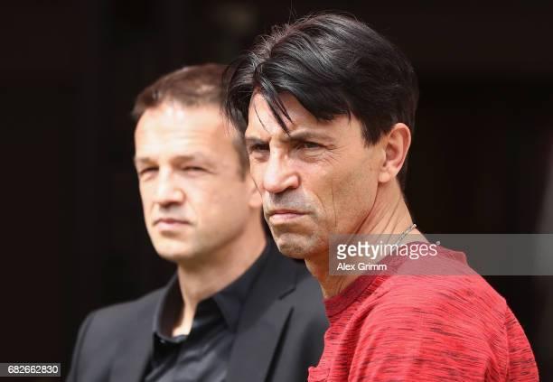 Manager Bruno Huebner and CEO Fredi Bobic of Frankfurt look on prior to the Bundesliga match between 1 FSV Mainz 05 and Eintracht Frankfurt at Opel...