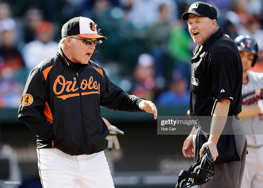 Manager <a gi-track='captionPersonalityLinkClicked' href=/galleries/search?phrase=Buck+Showalter&family=editorial&specificpeople=208183 ng-click='$event.stopPropagation()'>Buck Showalter</a> argues a call with home plate umpire <a gi-track='captionPersonalityLinkClicked' href=/galleries/search?phrase=Ron+Kulpa&family=editorial&specificpeople=2141033 ng-click='$event.stopPropagation()'>Ron Kulpa</a> during the ninth inning of the Orioles 4-3 loss to the Minnesota Twins at Oriole Park at Camden Yards on April 7, 2013 in Baltimore, Maryland.