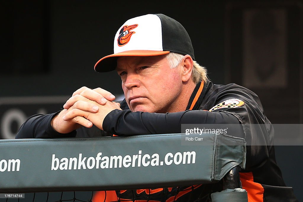 Manager <a gi-track='captionPersonalityLinkClicked' href=/galleries/search?phrase=Buck+Showalter&family=editorial&specificpeople=208183 ng-click='$event.stopPropagation()'>Buck Showalter</a> looks on from the dugout during the first inning against the Colorado Rockies at Oriole Park at Camden Yards on August 17, 2013 in Baltimore, Maryland.
