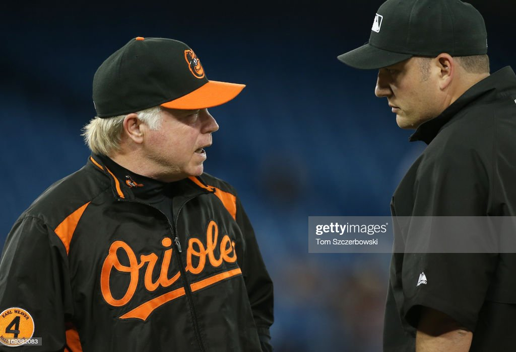 Manager <a gi-track='captionPersonalityLinkClicked' href=/galleries/search?phrase=Buck+Showalter&family=editorial&specificpeople=208183 ng-click='$event.stopPropagation()'>Buck Showalter</a> #26 of the Baltimore Orioles argues a call with first base umpire Dan Bellino #2 during MLB game action against the Toronto Blue Jays on May 23, 2013 at Rogers Centre in Toronto, Ontario, Canada.