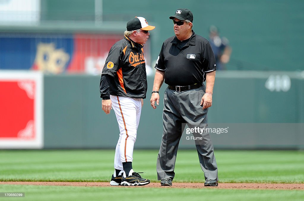 Manager Buck Showalter of the Baltimore Orioles argues a call with second base umpire Joe West during the game against the Los Angeles Angels of...