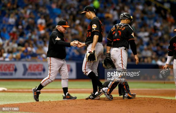 Manager Buck Showalter of the Baltimore Orioles comes out to take pitcher Ubaldo Jimenez off the mound during the third inning of a game against the...