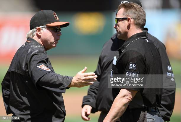 Manager Buck Showalter of the Baltimore Orioles discuss a call with home plate umpire Jim Wolf during the top of the second inning against the...