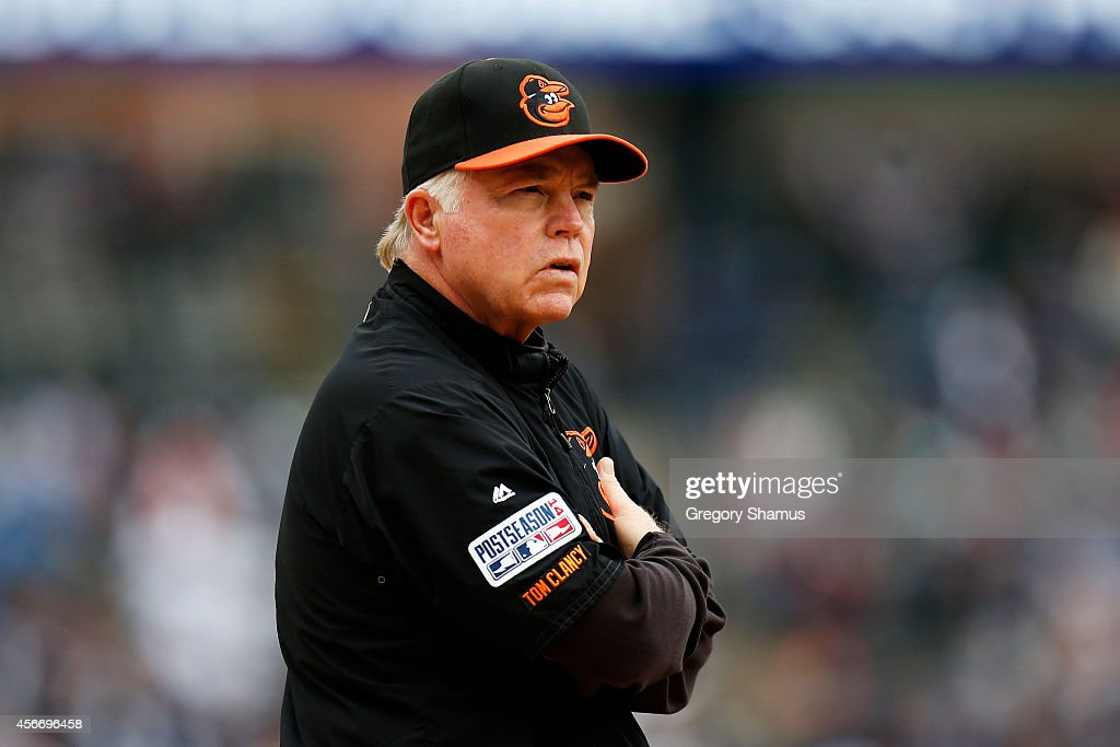 Manager <a gi-track='captionPersonalityLinkClicked' href=/galleries/search?phrase=Buck+Showalter&family=editorial&specificpeople=208183 ng-click='$event.stopPropagation()'>Buck Showalter</a> #26 of the Baltimore Orioles looks on during introductions prior to Game Three of the American League Division Series against the Detroit Tigers at Comerica Park on October 5, 2014 in Detroit, Michigan.