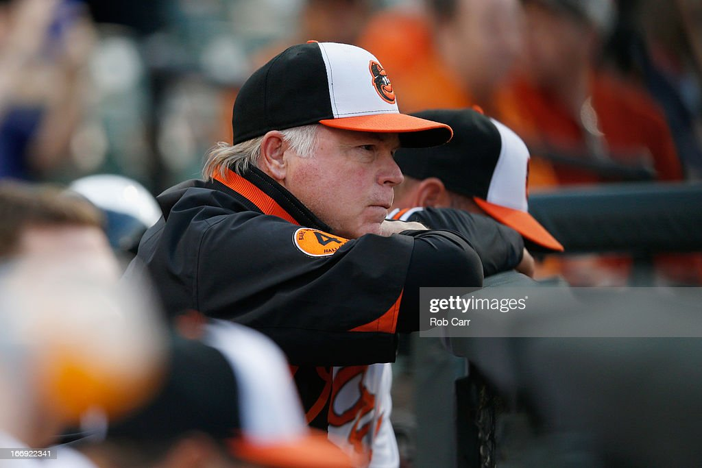 Manager Buck Showalter of the Baltimore Orioles looks on from the dugout during the Orioles game against the Tampa Bay Rays at Oriole Park at Camden Yards on April 18, 2013 in Baltimore, Maryland.