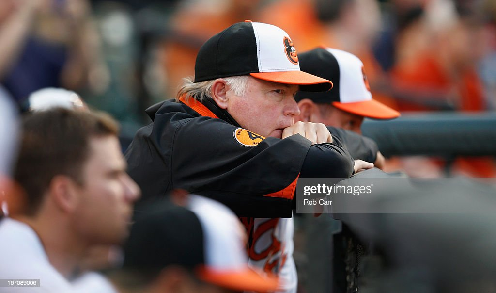 Manager <a gi-track='captionPersonalityLinkClicked' href=/galleries/search?phrase=Buck+Showalter&family=editorial&specificpeople=208183 ng-click='$event.stopPropagation()'>Buck Showalter</a> of the Baltimore Orioles looks on from the dugout during the Orioles game against the Tampa Bay Rays at Oriole Park at Camden Yards on April 18, 2013 in Baltimore, Maryland.