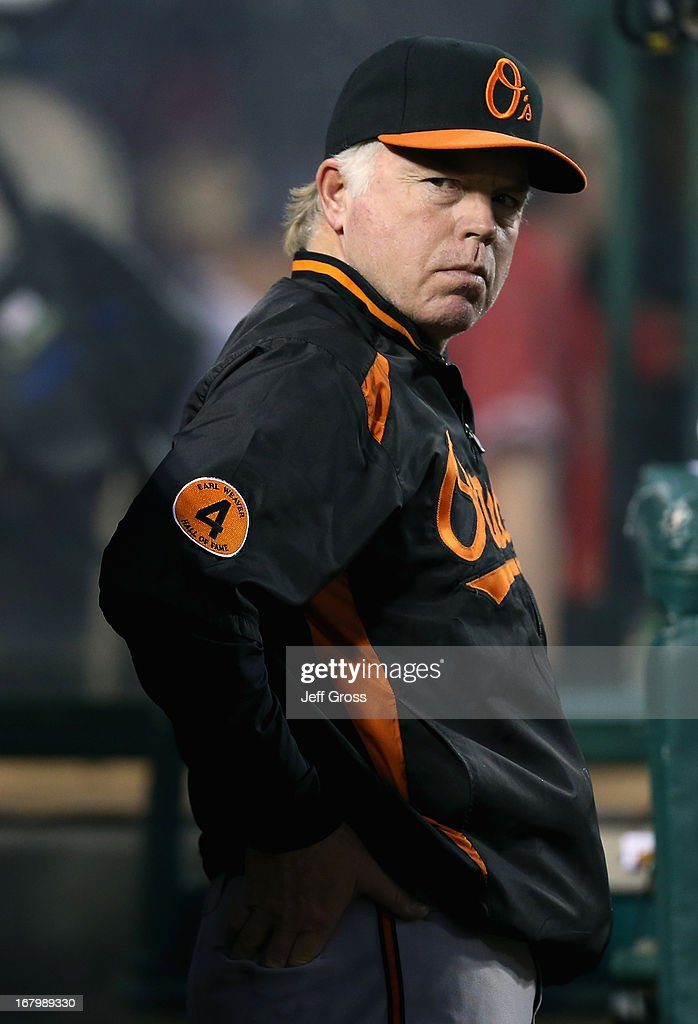 Manager Buck Showalter #26 of the Baltimore Orioles looks on from the dugout against the Los Angeles Angels of Anaheim at Angel Stadium of Anaheim on May 3, 2013 in Anaheim, California. The Angels defeated the Orioles 4-0.