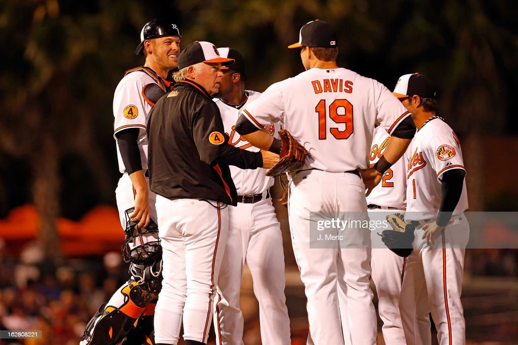 Manager <a gi-track='captionPersonalityLinkClicked' href=/galleries/search?phrase=Buck+Showalter&family=editorial&specificpeople=208183 ng-click='$event.stopPropagation()'>Buck Showalter</a> #26 of the Baltimore Orioles makes a pitching change against the Boston Red Sox during a Grapefruit League Spring Training Game at Ed Smith Stadium on February 27, 2013 in Sarasota, Florida.