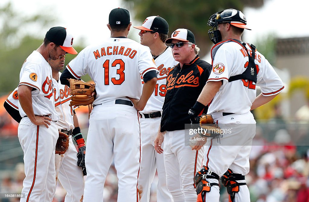 Manager Buck Showalter #26 of the Baltimore Orioles makes a pitching change against the Philadelphia Phillies during a Grapefruit League Spring Training Game at Ed Smith Stadium on March 23, 2013 in Sarasota, Florida.