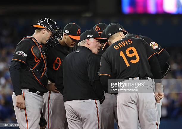 Manager Buck Showalter of the Baltimore Orioles makes a visit to the mound to talk to Ubaldo Jimenez and Chris Davis as Matt Wieters and Manny...