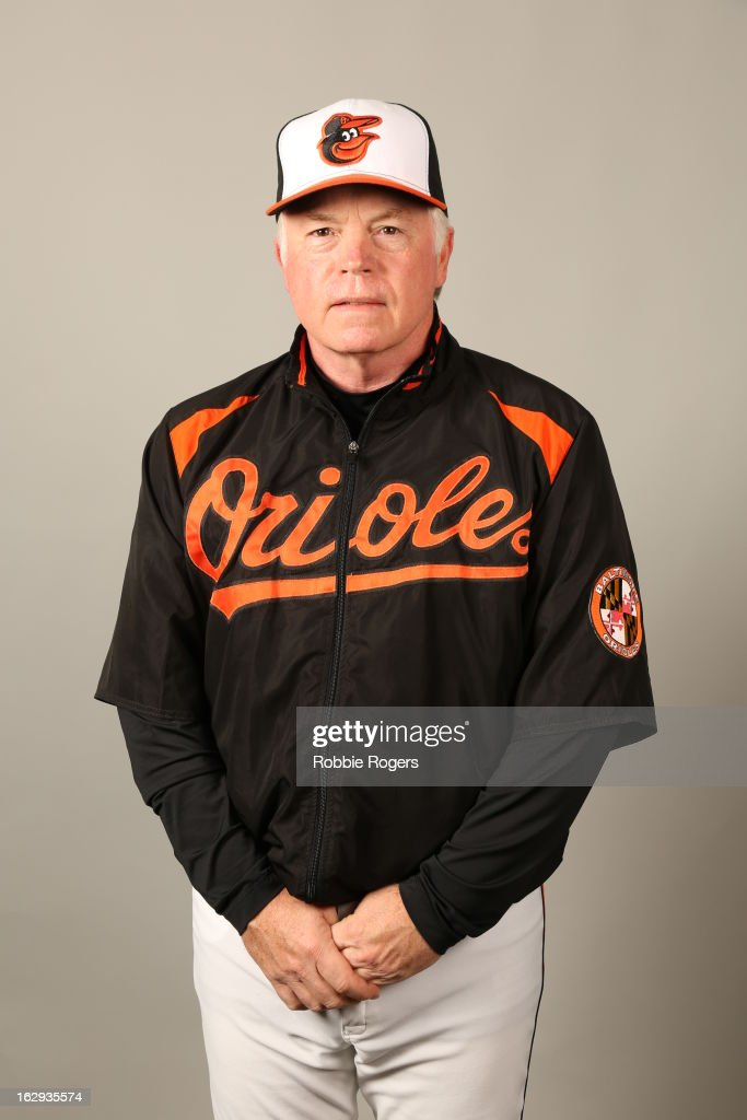 Manager <a gi-track='captionPersonalityLinkClicked' href=/galleries/search?phrase=Buck+Showalter&family=editorial&specificpeople=208183 ng-click='$event.stopPropagation()'>Buck Showalter</a> #26 of the Baltimore Orioles poses during Photo Day on February 22, 2013 at Ed Smith Stadium in Sarasota, Florida.