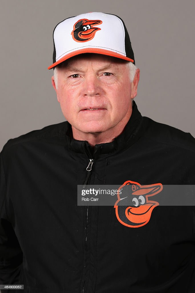 Manager <a gi-track='captionPersonalityLinkClicked' href=/galleries/search?phrase=Buck+Showalter&family=editorial&specificpeople=208183 ng-click='$event.stopPropagation()'>Buck Showalter</a> #26 of the Baltimore Orioles poses on photo day at Ed Smith Stadium on March 1, 2015 in Sarasota, Florida.