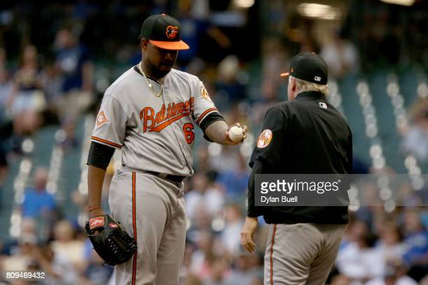 Manager Buck Showalter of the Baltimore Orioles relieves Jayson Aquino in the sixth inning against the Milwaukee Brewers at Miller Park on July 5...