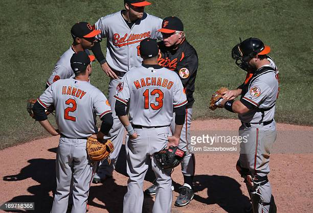 Manager Buck Showalter of the Baltimore Orioles stands on the mound after making a pitching change as JJ Hardy and Alexi Casilla and Chris Davis and...