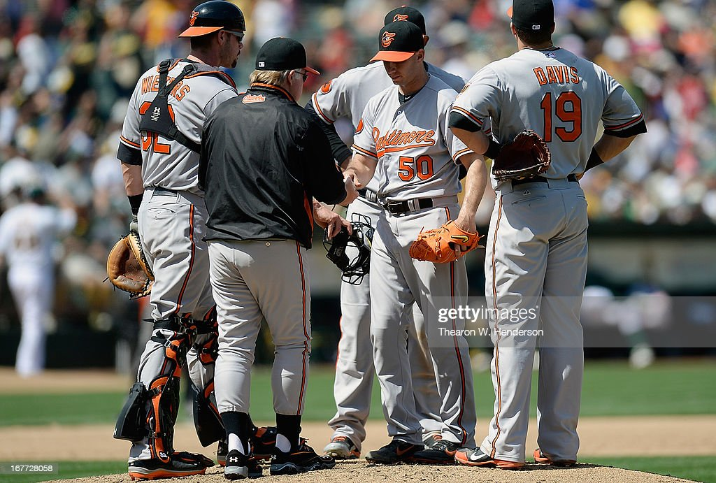 Manager <a gi-track='captionPersonalityLinkClicked' href=/galleries/search?phrase=Buck+Showalter&family=editorial&specificpeople=208183 ng-click='$event.stopPropagation()'>Buck Showalter</a> #16 of the Baltimore Orioles takes the ball from pitcher Miguel Gonzalez #50 taking him out of the game against the Oakland Athletic in the six inning at O.co Coliseum on April 28, 2013 in Oakland, California.
