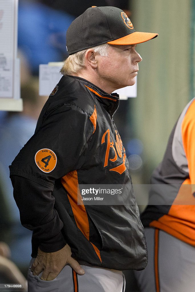 Manager <a gi-track='captionPersonalityLinkClicked' href=/galleries/search?phrase=Buck+Showalter&family=editorial&specificpeople=208183 ng-click='$event.stopPropagation()'>Buck Showalter</a> #26 of the Baltimore Orioles watches the game from the dugout during the sixth inning against the Cleveland Indians at Progressive Field on September 3, 2013 in Cleveland, Ohio.