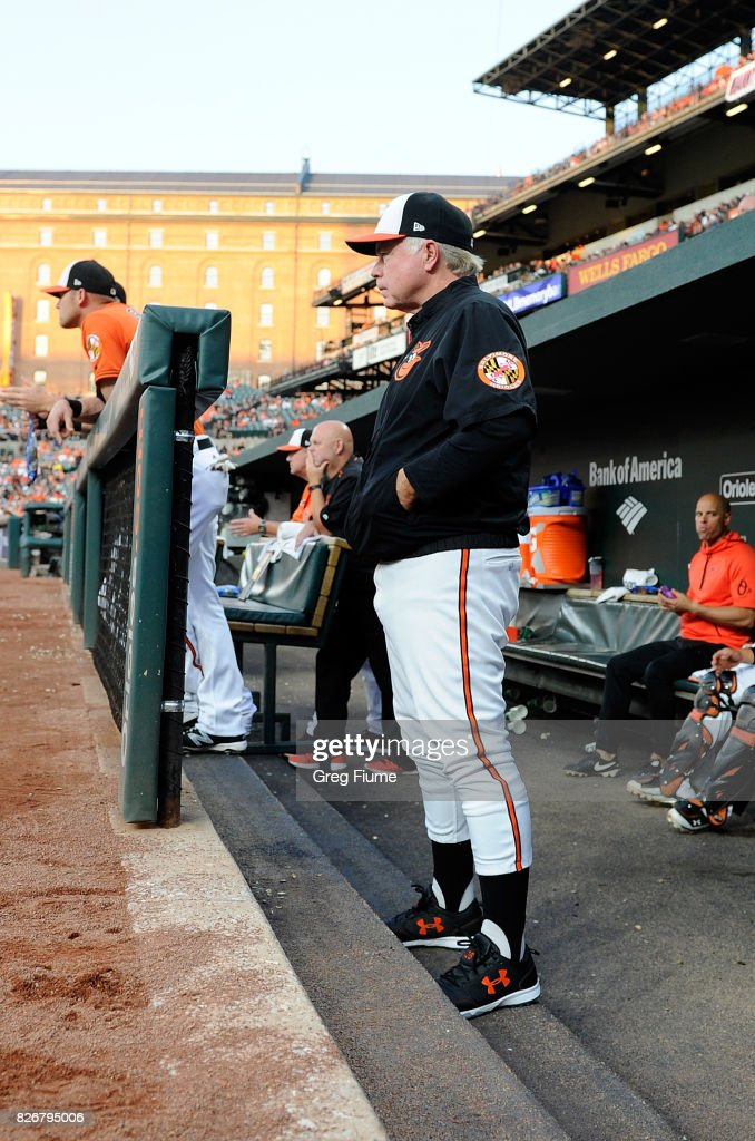 Manager Buck Showalter #26 of the Baltimore Orioles watches the game in the second inning against the Detroit Tigers at Oriole Park at Camden Yards on August 5, 2017 in Baltimore, Maryland.