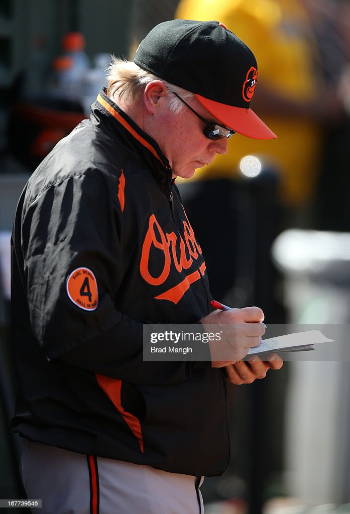 Manager Buck Showalter #26 of the Baltimore Orioles writes on his scorecard in the dugout during the game against the Oakland Athletics on Sunday, April 28, 2013 at The O.co Coliseum in Oakland, California.
