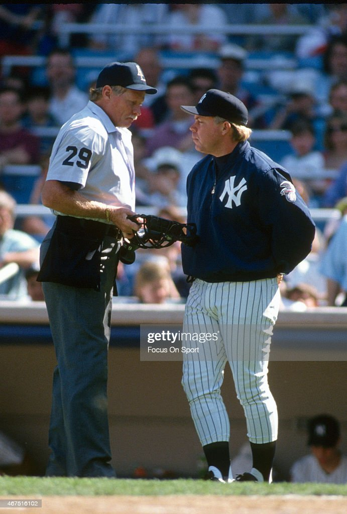 Manager Buck Showalter of the New York Yankees argues with an umpire during a Major League Baseball game circa 1994 at Yankee Stadium in the Bronx...