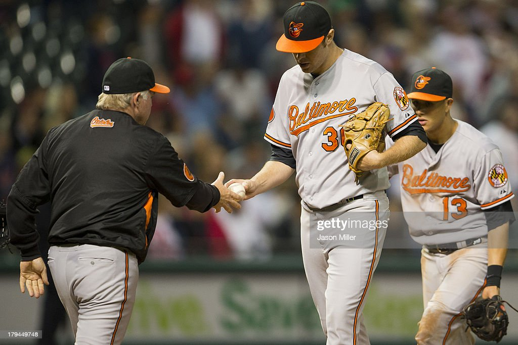 Manager <a gi-track='captionPersonalityLinkClicked' href=/galleries/search?phrase=Buck+Showalter&family=editorial&specificpeople=208183 ng-click='$event.stopPropagation()'>Buck Showalter</a> #26 removes starting pitcher Chris Tillman #30 of the Baltimore Orioles during the sixth inning against the Cleveland Indians at Progressive Field on September 3, 2013 in Cleveland, Ohio.