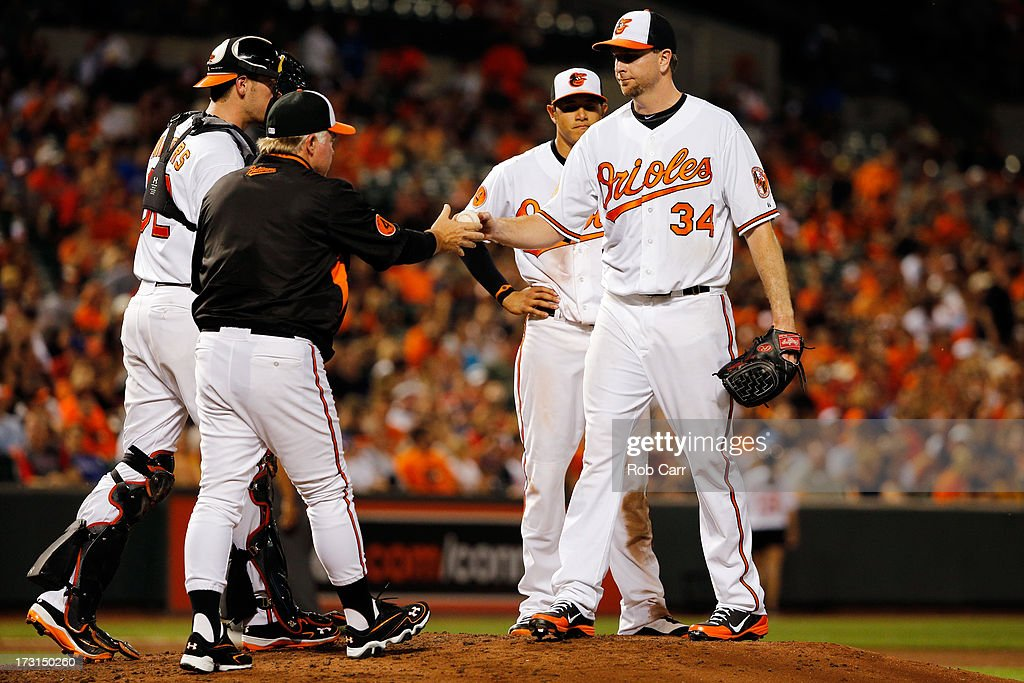 Manager <a gi-track='captionPersonalityLinkClicked' href=/galleries/search?phrase=Buck+Showalter&family=editorial&specificpeople=208183 ng-click='$event.stopPropagation()'>Buck Showalter</a> removes starting pitcher <a gi-track='captionPersonalityLinkClicked' href=/galleries/search?phrase=Scott+Feldman&family=editorial&specificpeople=540379 ng-click='$event.stopPropagation()'>Scott Feldman</a> #34 of the Baltimore Orioles during the sixth inning against the Texas Rangers at Oriole Park at Camden Yards on July 8, 2013 in Baltimore, Maryland.
