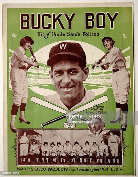 Manager Bucky Harris of the Washington Nationals is pictured on the front cover of sheet music for the tune 'Bucky Boy' from the stage play Uncle...