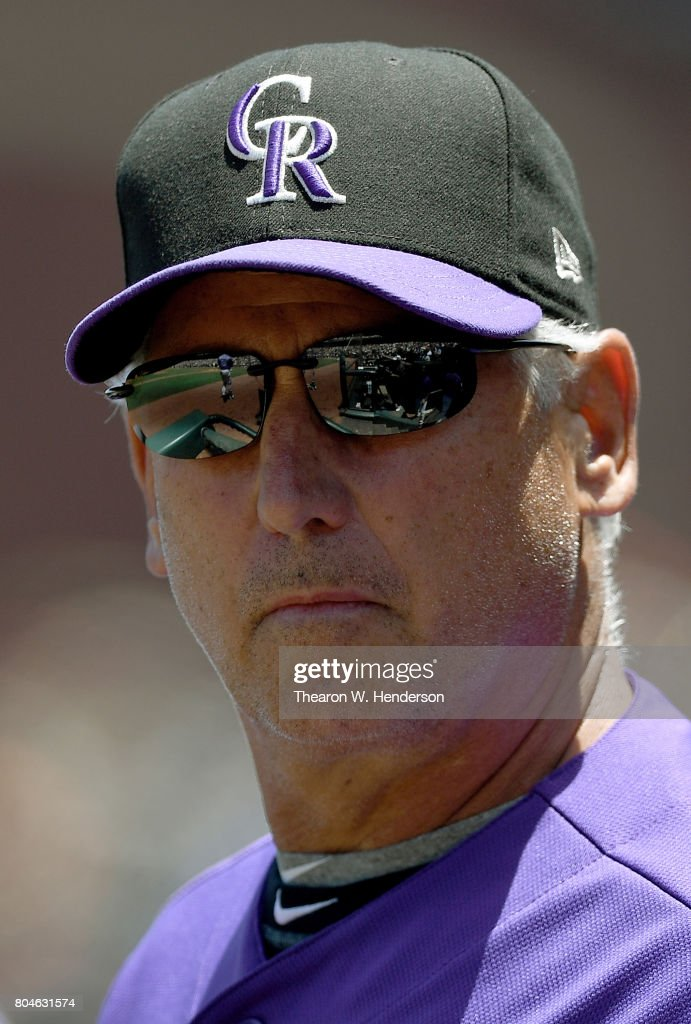 Manager Bud Black #10 of the Colorado Rockies looks on from the dugout against the San Francisco Giants in the top of the second inning at AT&T Park on June 28, 2017 in San Francisco, California.