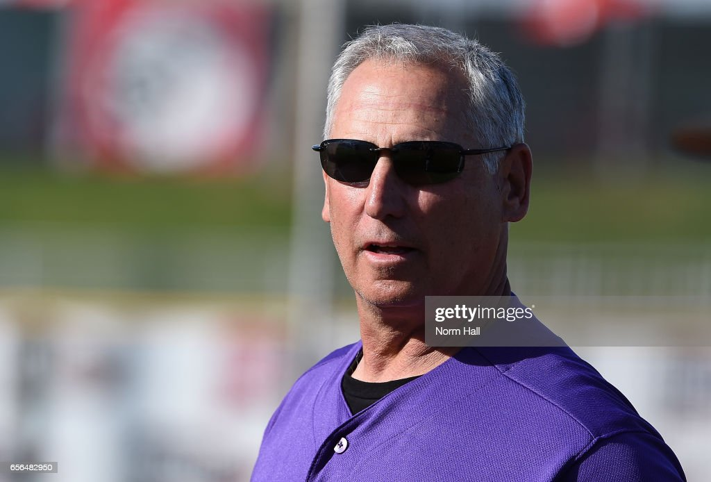 Manager Bud Black #10 of the Colorado Rockies prepares for a game against the Cincinnati Reds at Goodyear Ballpark on March 10, 2017 in Goodyear, Arizona.