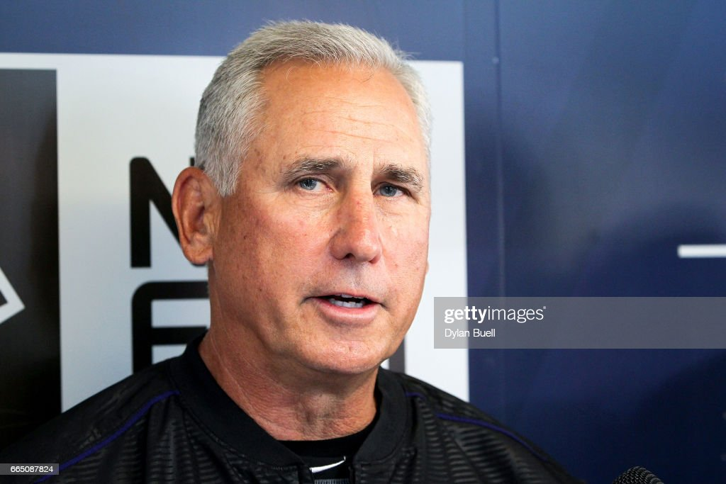Manager Bud Black of the Colorado Rockies speaks to the media before the game against the Milwaukee Brewers at Miller Park on April 4, 2017 in Milwaukee, Wisconsin.