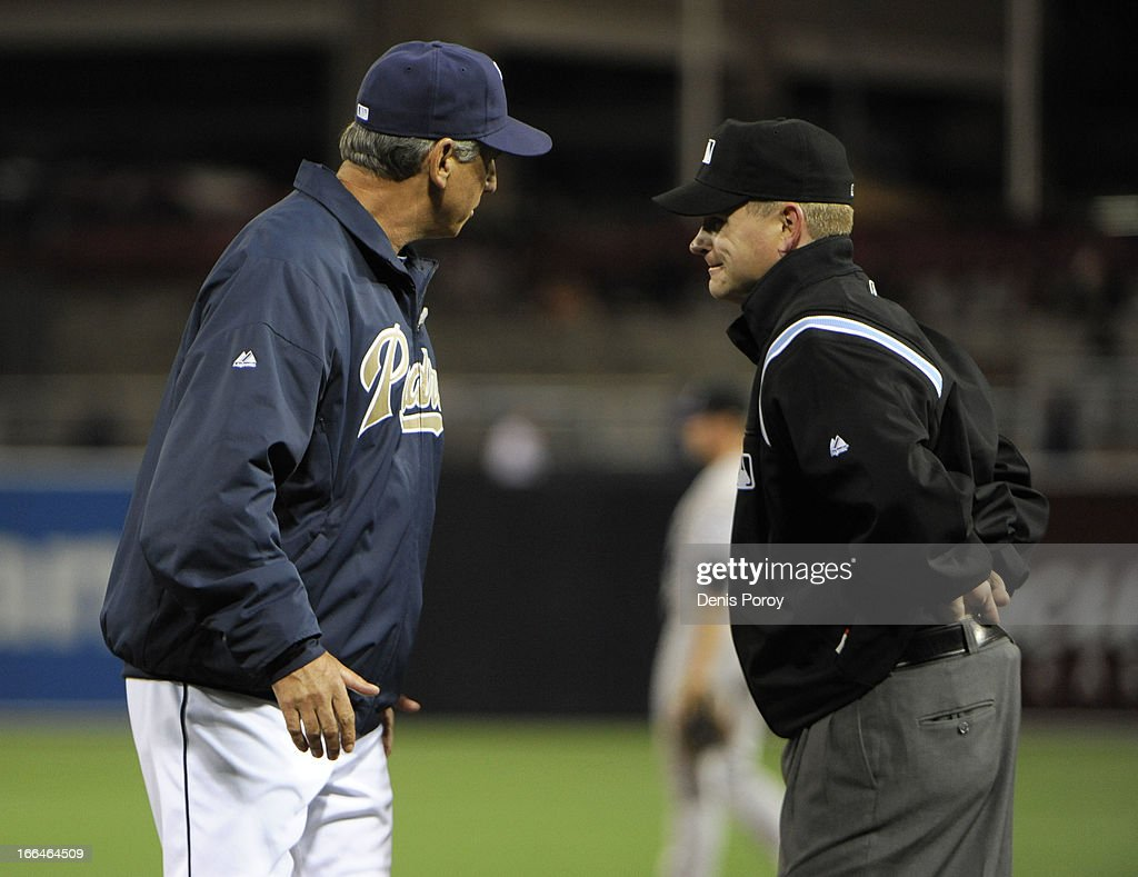 Manager <a gi-track='captionPersonalityLinkClicked' href=/galleries/search?phrase=Bud+Black&family=editorial&specificpeople=167104 ng-click='$event.stopPropagation()'>Bud Black</a> #20 of the San Diego Padres argues a call with first base umpire Mike Muchlinski in the fifth inning against the Colorado Rockies at Petco Park on April 12, 2013 in San Diego, California.