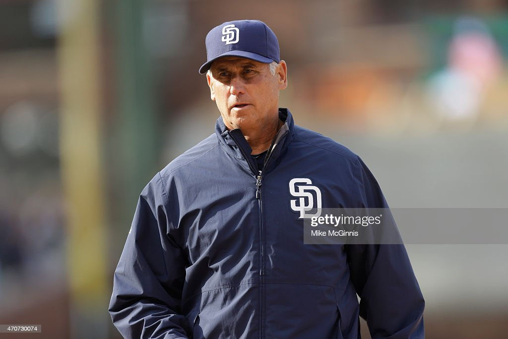 Manager Bud Black of the San Diego Padres during the game against the Chicago Cubs at Wrigley Field on April 18 2015 in Chicago Illinois